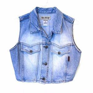 90s vintage light blue wash denim jean crop vest